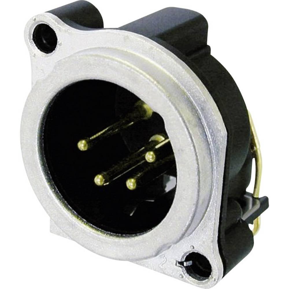 XLR-vtični konektor, prirobni vtič, kotni kontaktii število polov: 4 srebrne barve Neutrik NC4MBH 1 kos