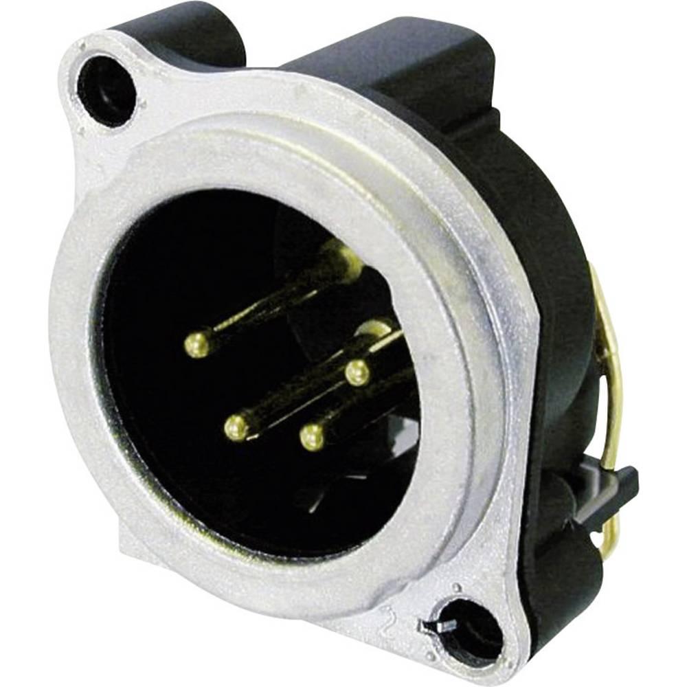XLR-vtični konektor, prirobni vtič, ravni kontakti, število polov: 4 srebrne barve Neutrik NC4MBV 1 kos