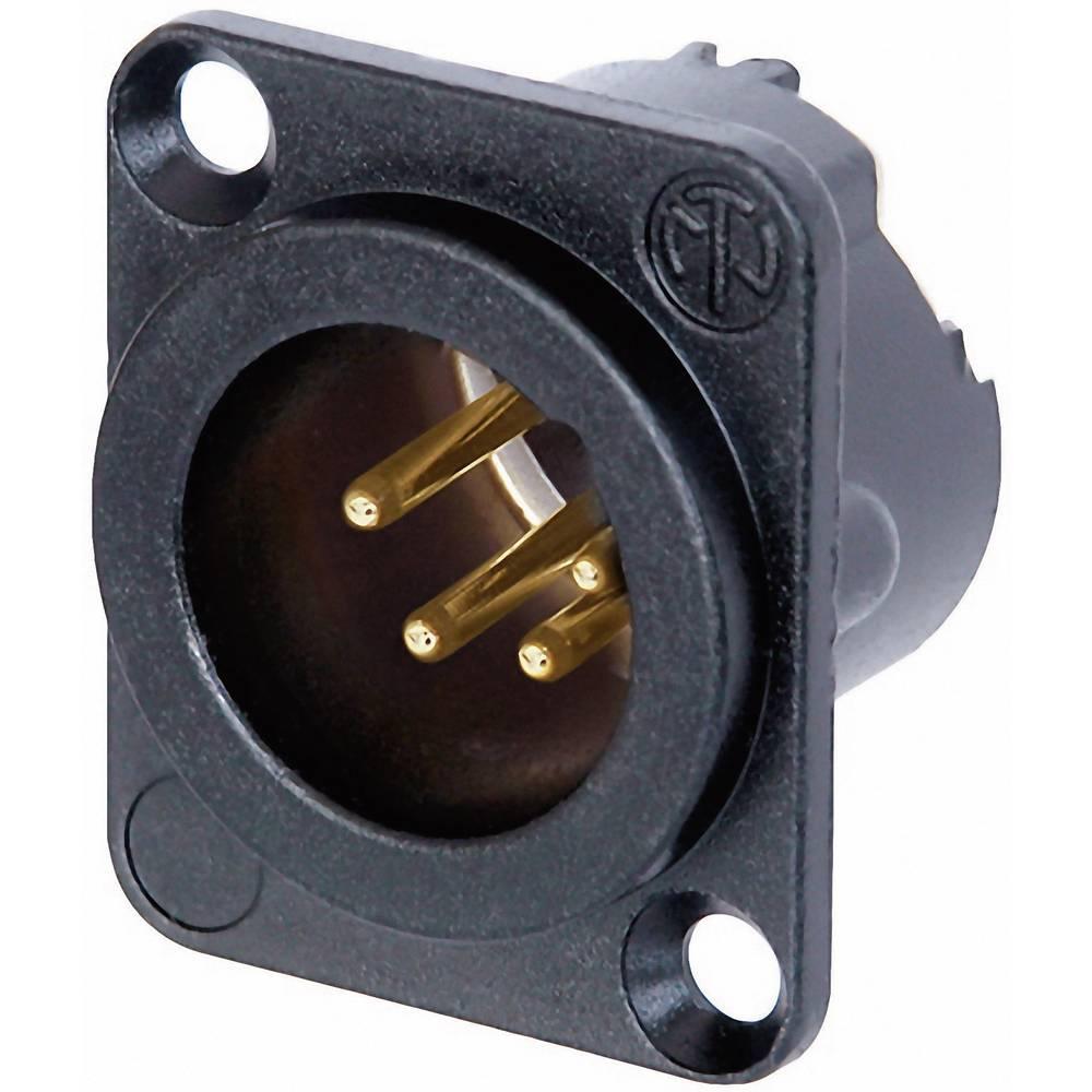 XLR-vtični konektor, prirobni vtič, ravni kontakti, število polov: 4 črne barve Neutrik NC4MD-LX-B 1 kos