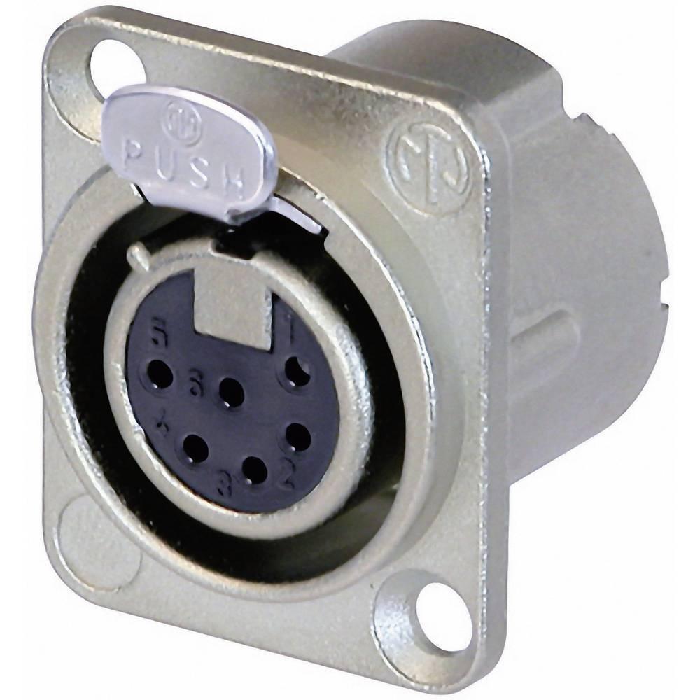 XLR-vtični konektor za prirobno vtičnico, ravni kontakti, število polov: 6 srebrne barve Neutrik NC6FD-LX 1 kos