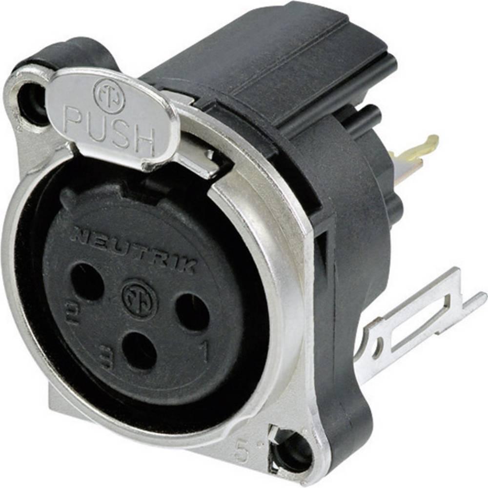 XLR-vtični konektor za prirobno vtičnico, ravni kontakti, število polov: 3 črne barve Neutrik NC3FBV2 1 kos