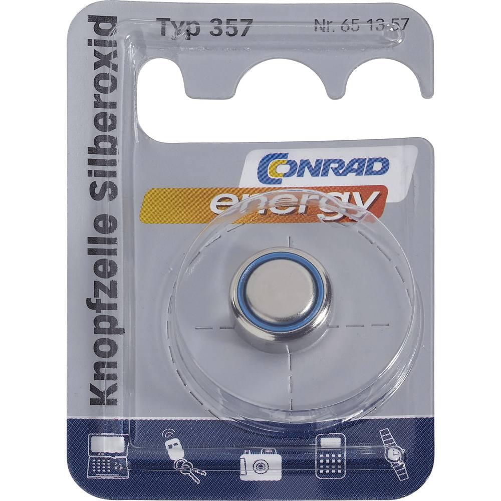 Gumbasta baterija 357 Conrad energy srebro-oksidna SR44 pogodna za jaku struju 165 mAh 1.55 V 1 kom.