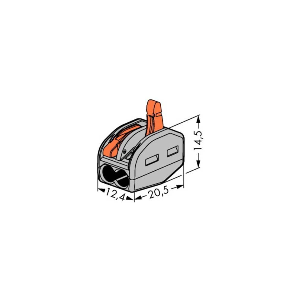 Povezovalna sponka, toga: 0.08-2.5 mm št. polov: 2 WAGO 222-412 500 kos siva