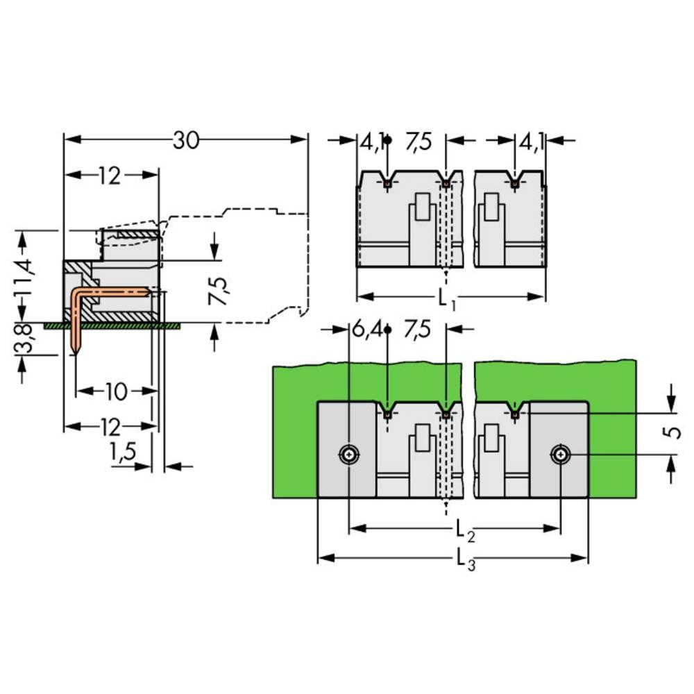 Pinski konektor (Standard) 2060 št. polov skupaj 5 WAGO 721-865/001-000 mere: 7.50 mm 100 kosov