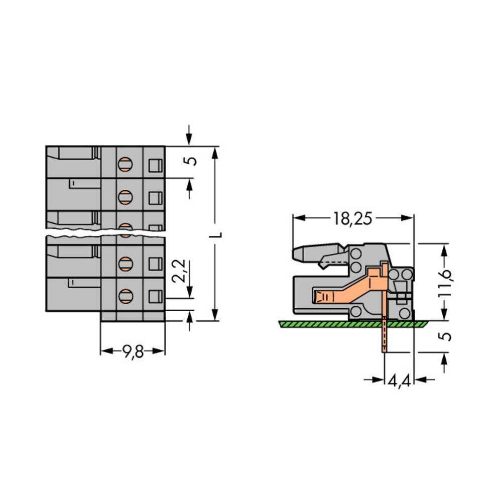 Tilslutningskabinet-printplade 232 (value.1360685) Samlet antal poler 20 WAGO 232-250 Rastermål: 5 mm 10 stk