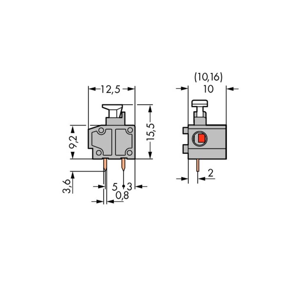 Fjederkraftsklemmeblok WAGO 1.50 mm² Poltal 1 Grå 400 stk