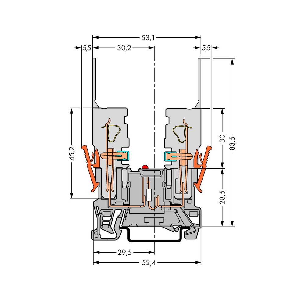 Basisklemme 5 mm Trækfjeder Belægning: L Grå WAGO 769-229/281-413 100 stk
