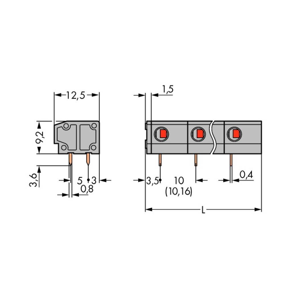 Fjederkraftsklemmeblok WAGO 1.50 mm² Poltal 2 Grå 220 stk