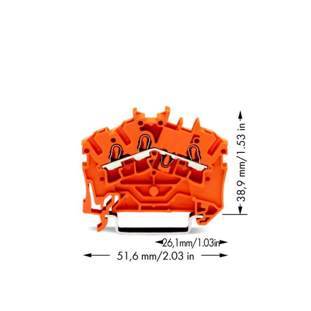 Gennemgangsklemme 5.20 mm Trækfjeder Orange WAGO 2002-6302 100 stk