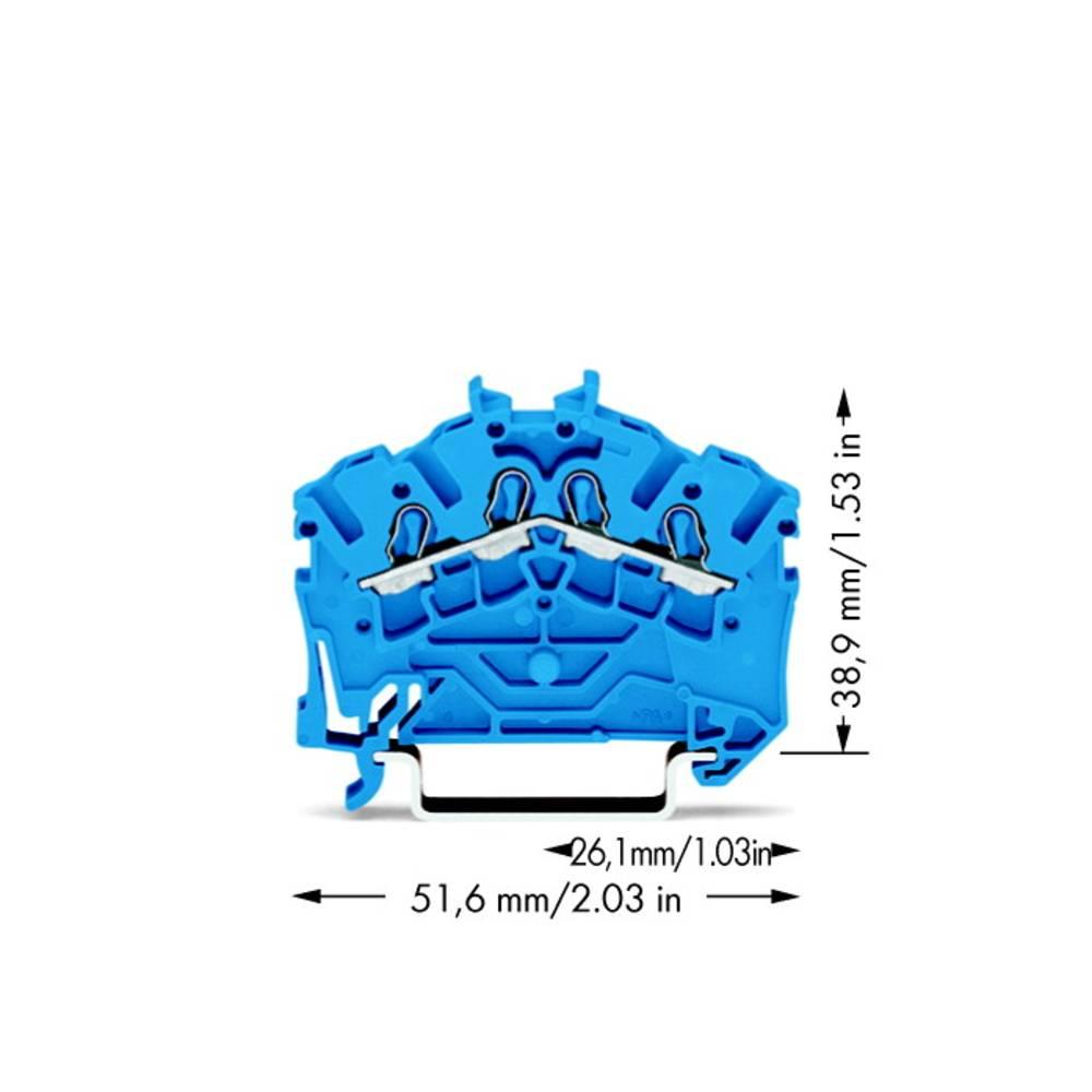 Gennemgangsklemme 5.20 mm Trækfjeder Belægning: N Blå WAGO 2002-6404 100 stk