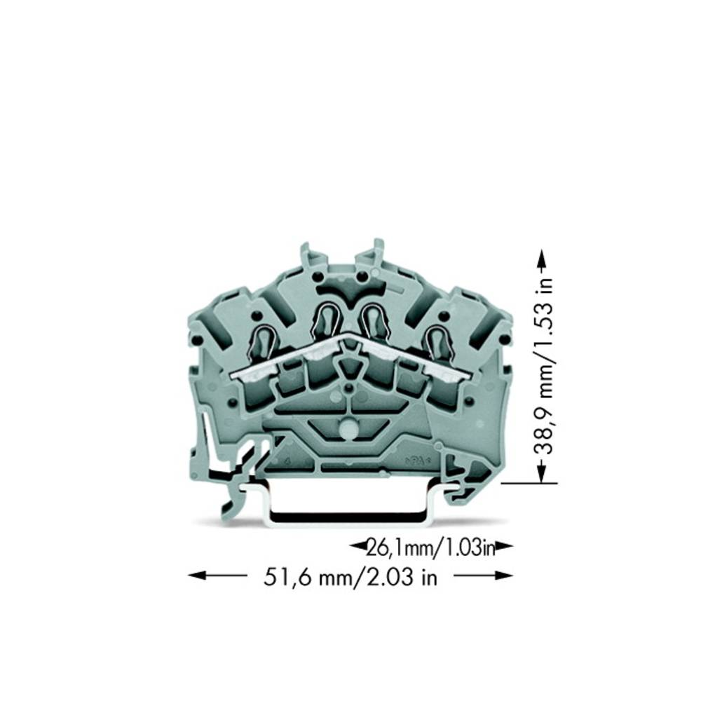 Gennemgangsklemme 5.20 mm Trækfjeder Belægning: L Grå WAGO 2002-6401 100 stk