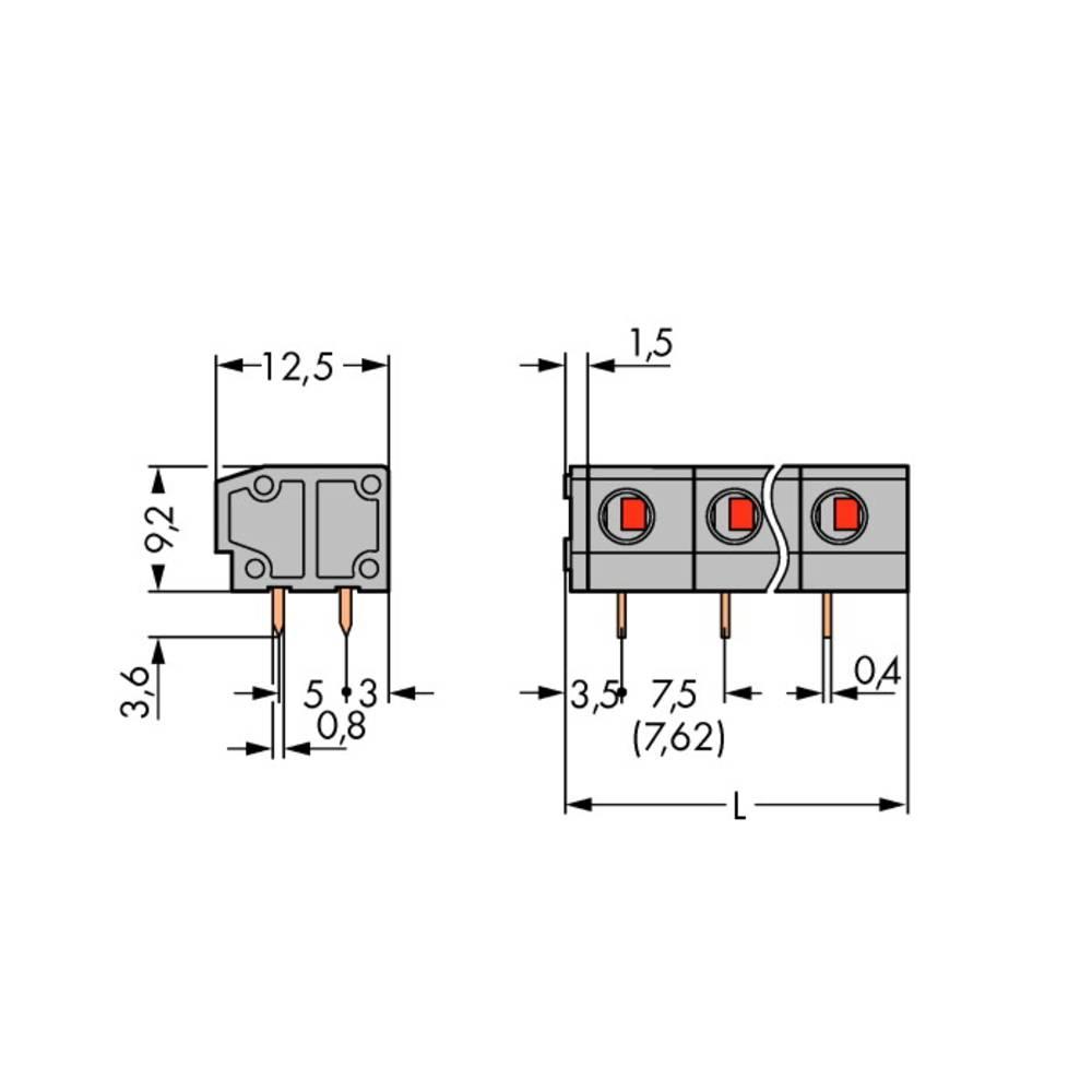 Fjederkraftsklemmeblok WAGO 1.50 mm² Poltal 2 Grå 280 stk