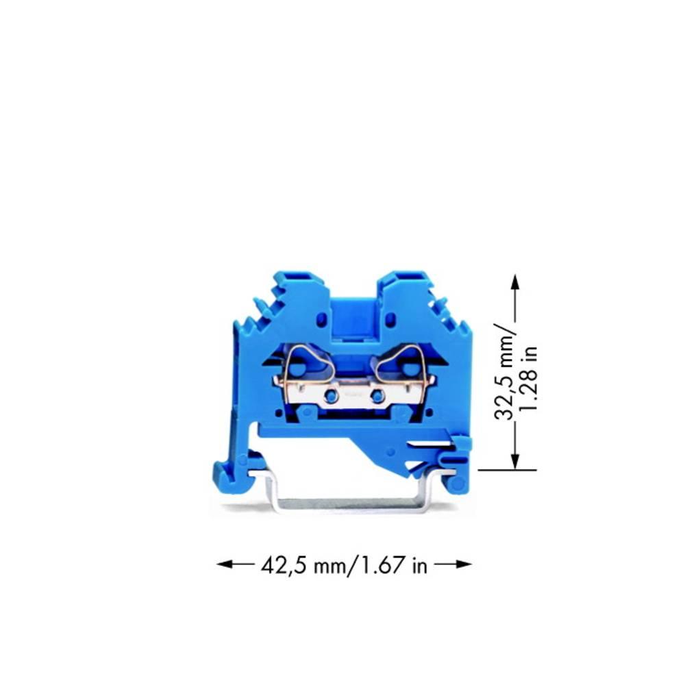 Gennemgangsklemme 6 mm Trækfjeder Belægning: N Blå WAGO 281-104 100 stk