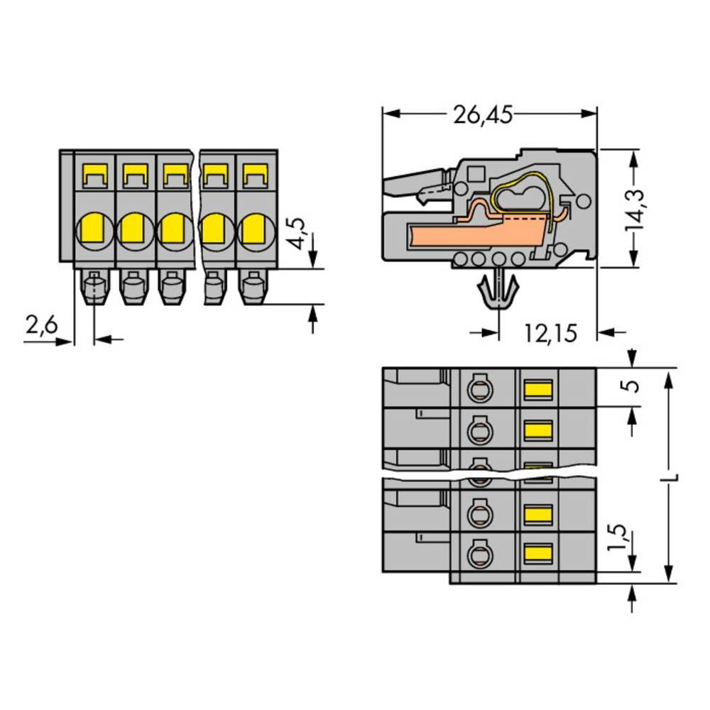 Tilslutningskabinet-kabel 231 Samlet antal poler 11 WAGO 231-111/008-000 Rastermål: 5 mm 25 stk