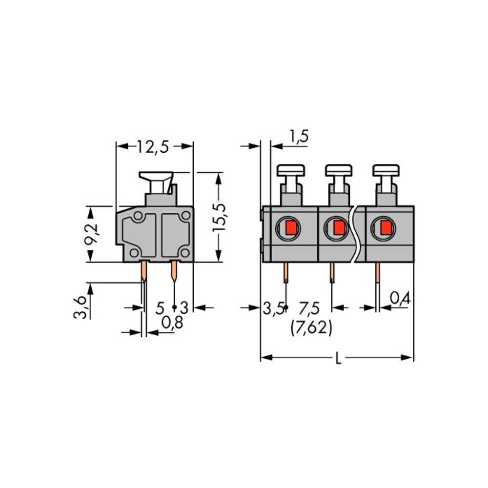 Fjederkraftsklemmeblok WAGO 0.75 mm² Poltal 2 Grå 280 stk