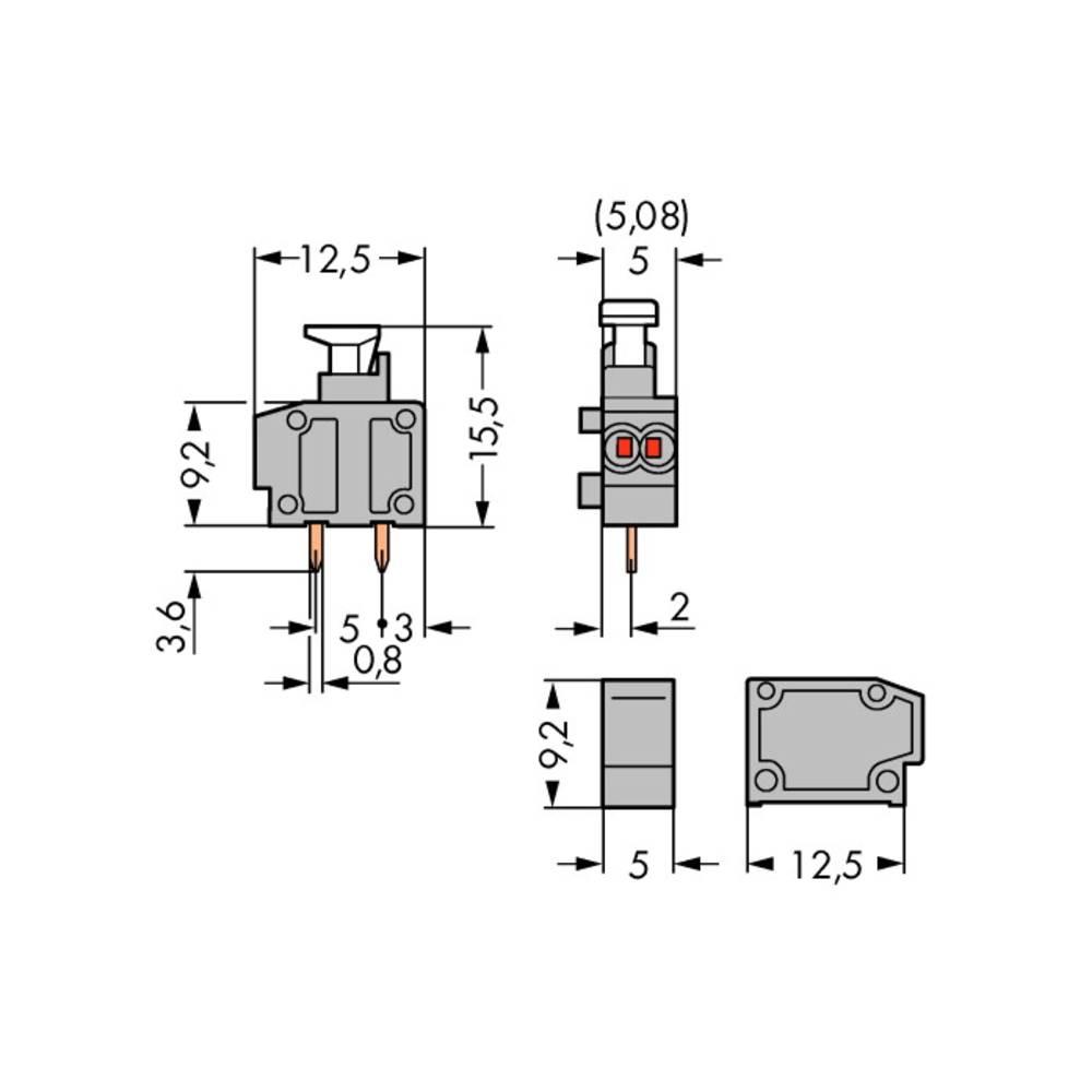 Fjederkraftsklemmeblok WAGO 0.50 mm² Poltal 1 Grå 800 stk