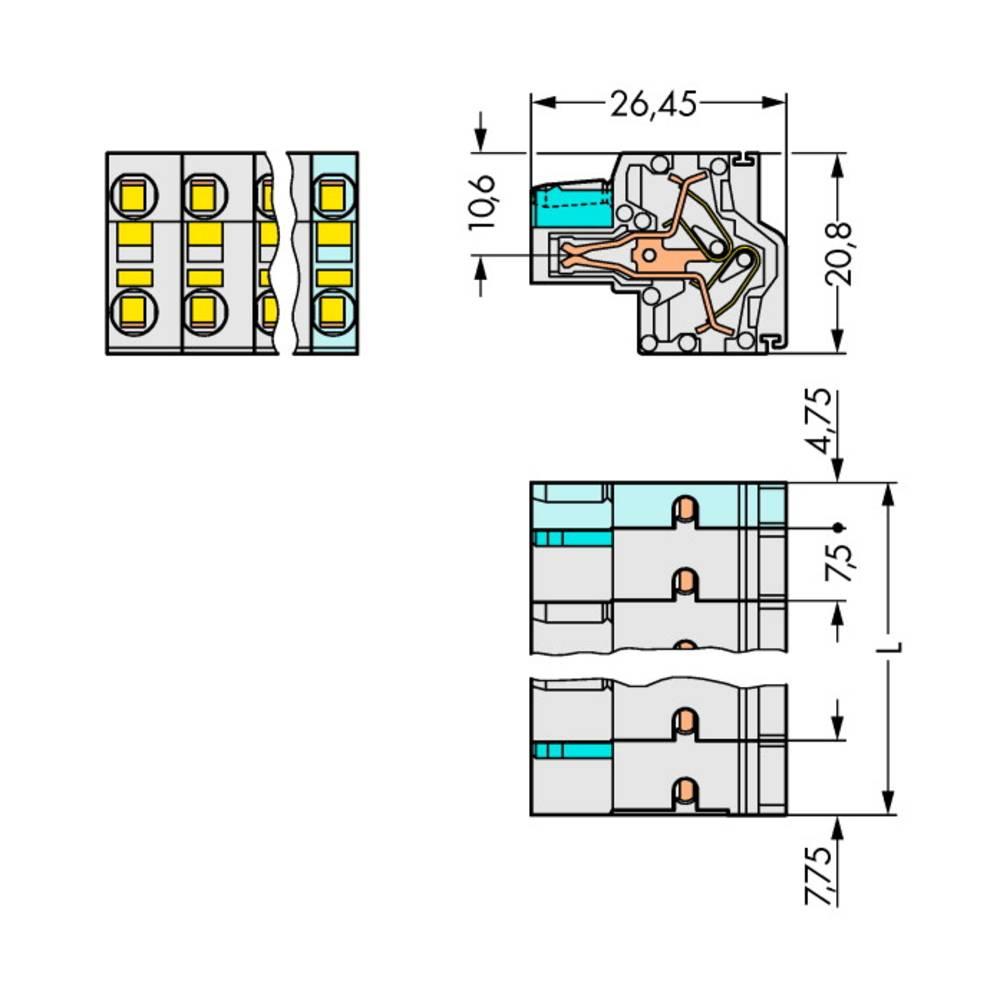 Multistikfatning 721-2208/026-000 Samlet poltal 8 Antal rækker 2 WAGO 25 stk