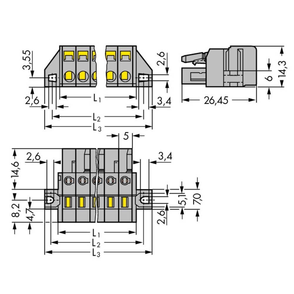 Tilslutningskabinet-kabel 231 Samlet antal poler 13 WAGO 231-113/031-000 Rastermål: 5 mm 25 stk