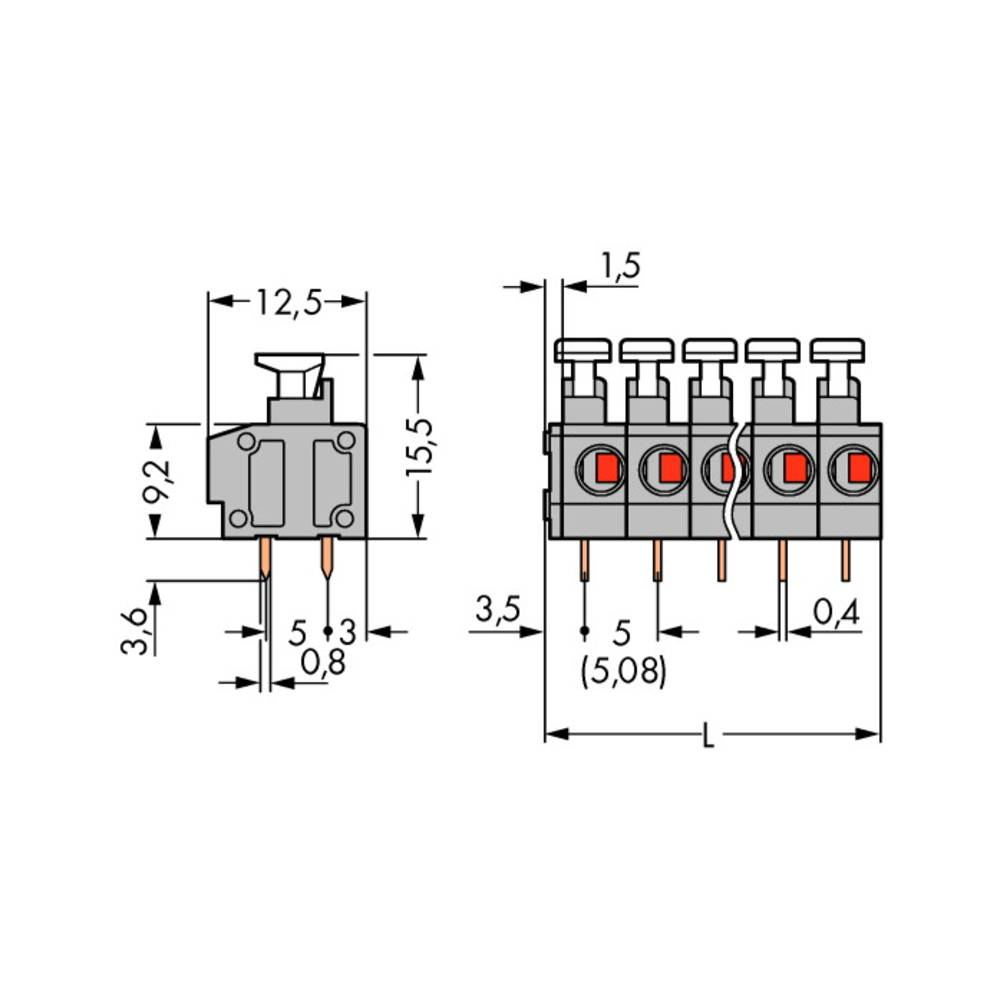 Fjederkraftsklemmeblok WAGO 0.75 mm² Poltal 9 Grå 100 stk