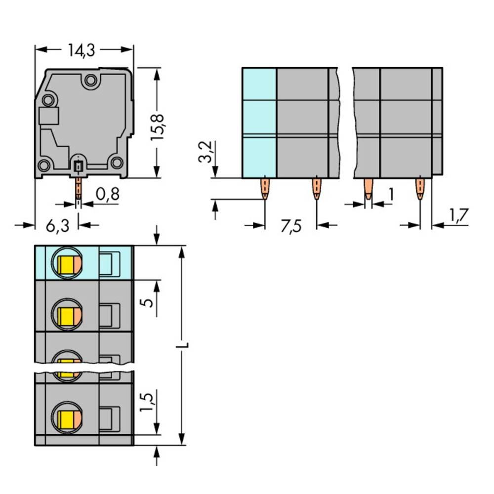 Fjederkraftsklemmeblok WAGO 2.50 mm² Poltal 5 Grå 120 stk
