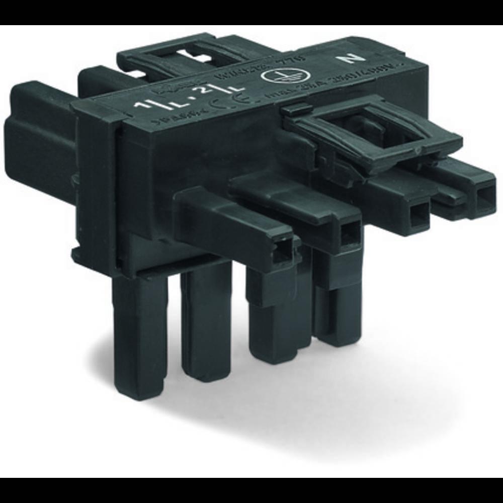 T-strømforsyningsfordeler WAGO Samlet poltal 4 Sort 50 stk