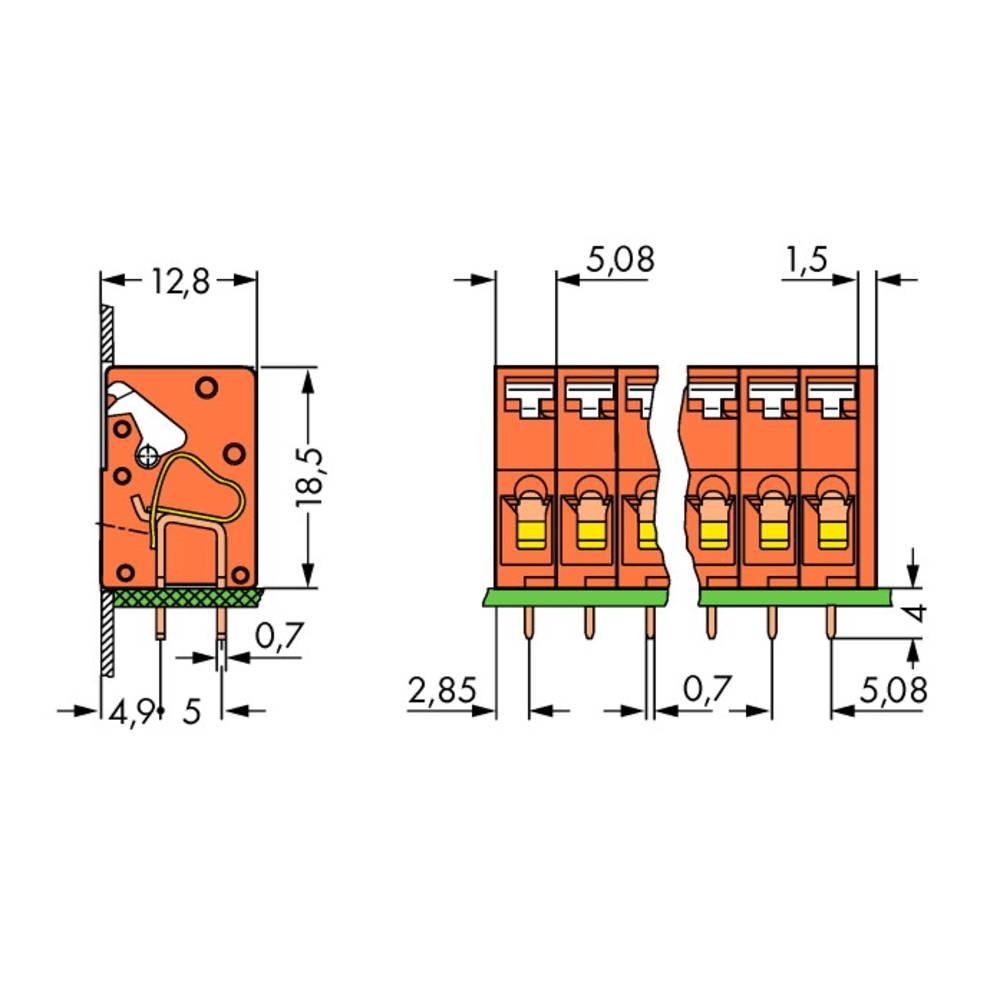 Fjederkraftsklemmeblok WAGO 2.50 mm² Poltal 4 Orange 220 stk
