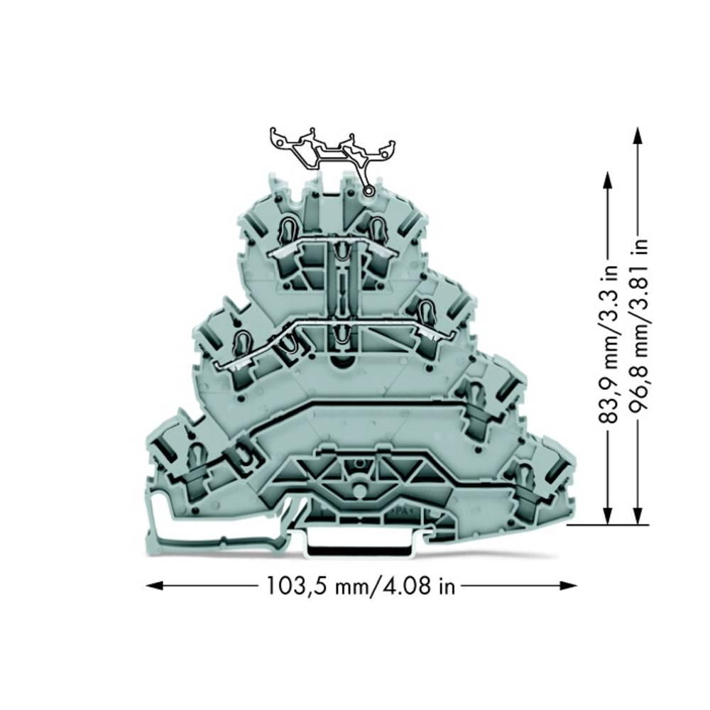4x-gennemgangsklemme 5.20 mm Trækfjeder Belægning: L1, L2 Grå WAGO 2002-4111 25 stk