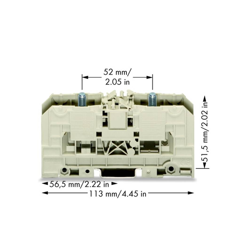 Højstrømsklemme 27 mm Bolttilslutning Grå WAGO 400-490/490-001 5 stk