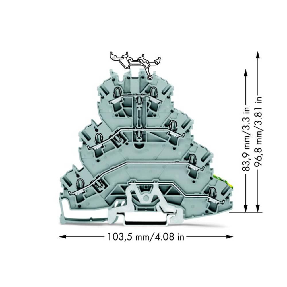 4x-gennemgangsklemme 5.20 mm Trækfjeder Belægning: L1, L2, L3, Terre Grå WAGO 2002-4127 25 stk
