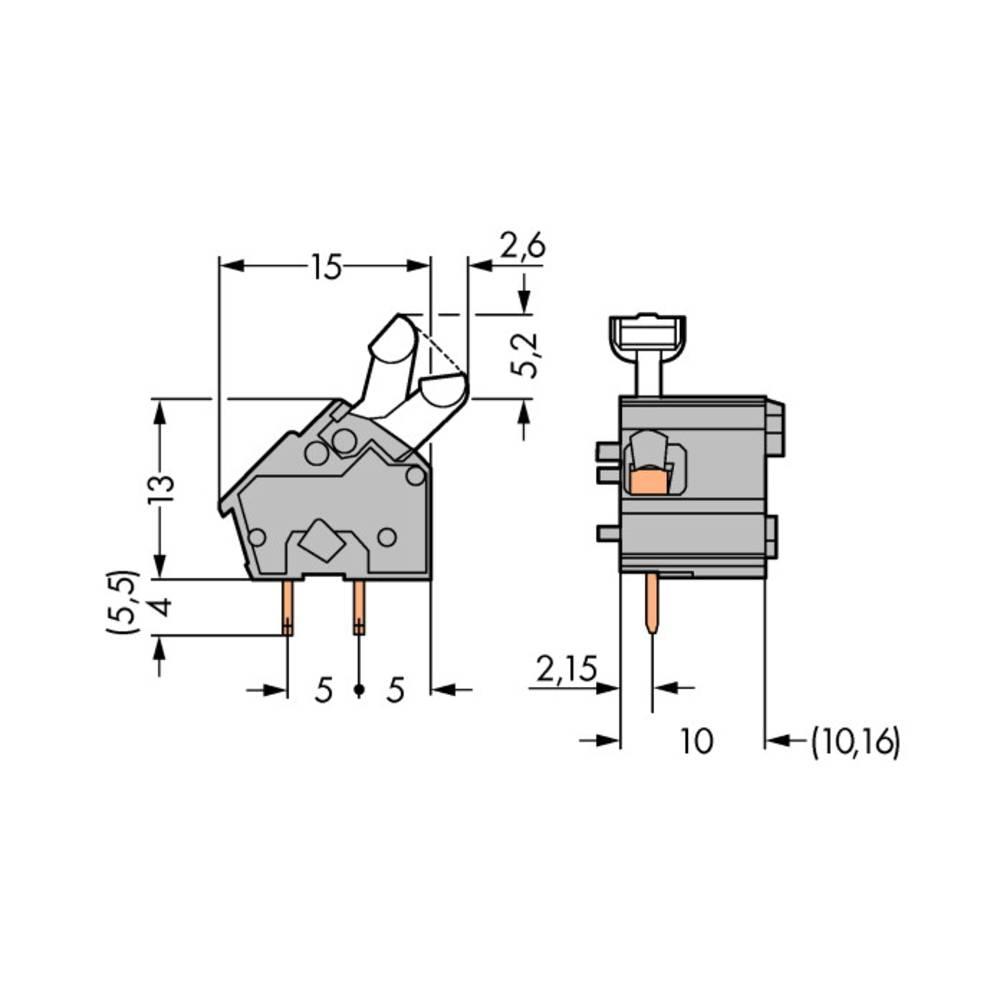 Fjederkraftsklemmeblok WAGO 2.50 mm² Poltal 1 Grå 300 stk