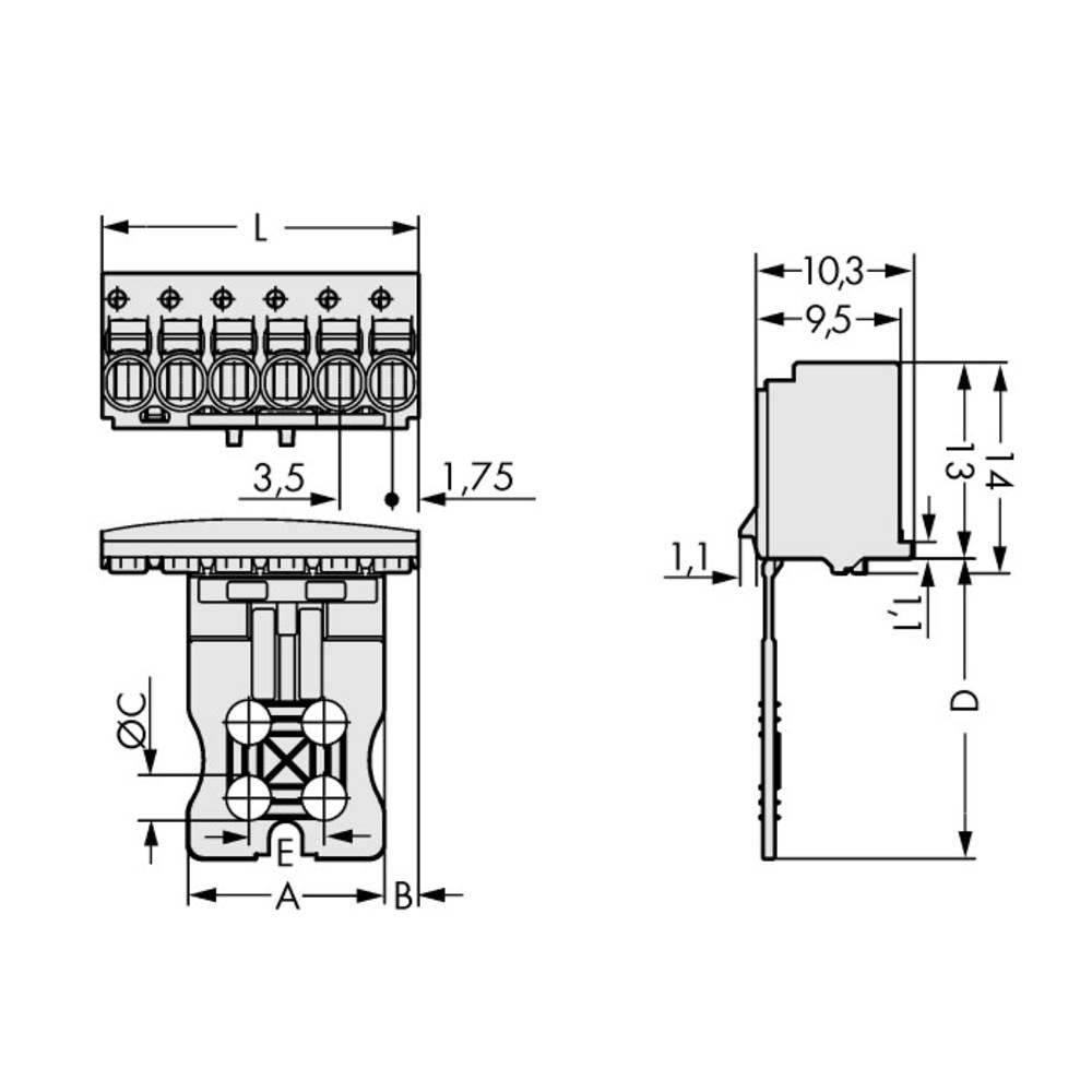 Stiftkabinet-printplade 2091 Samlet antal poler 2 WAGO 2091-1102 Rastermål: 3.50 mm 100 stk
