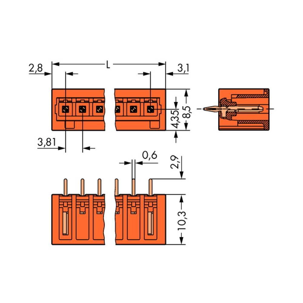 Stiftkabinet-printplade 734 (value.1360959) Samlet antal poler 9 WAGO 734-239/100-000 Rastermål: 3.81 mm 100 stk