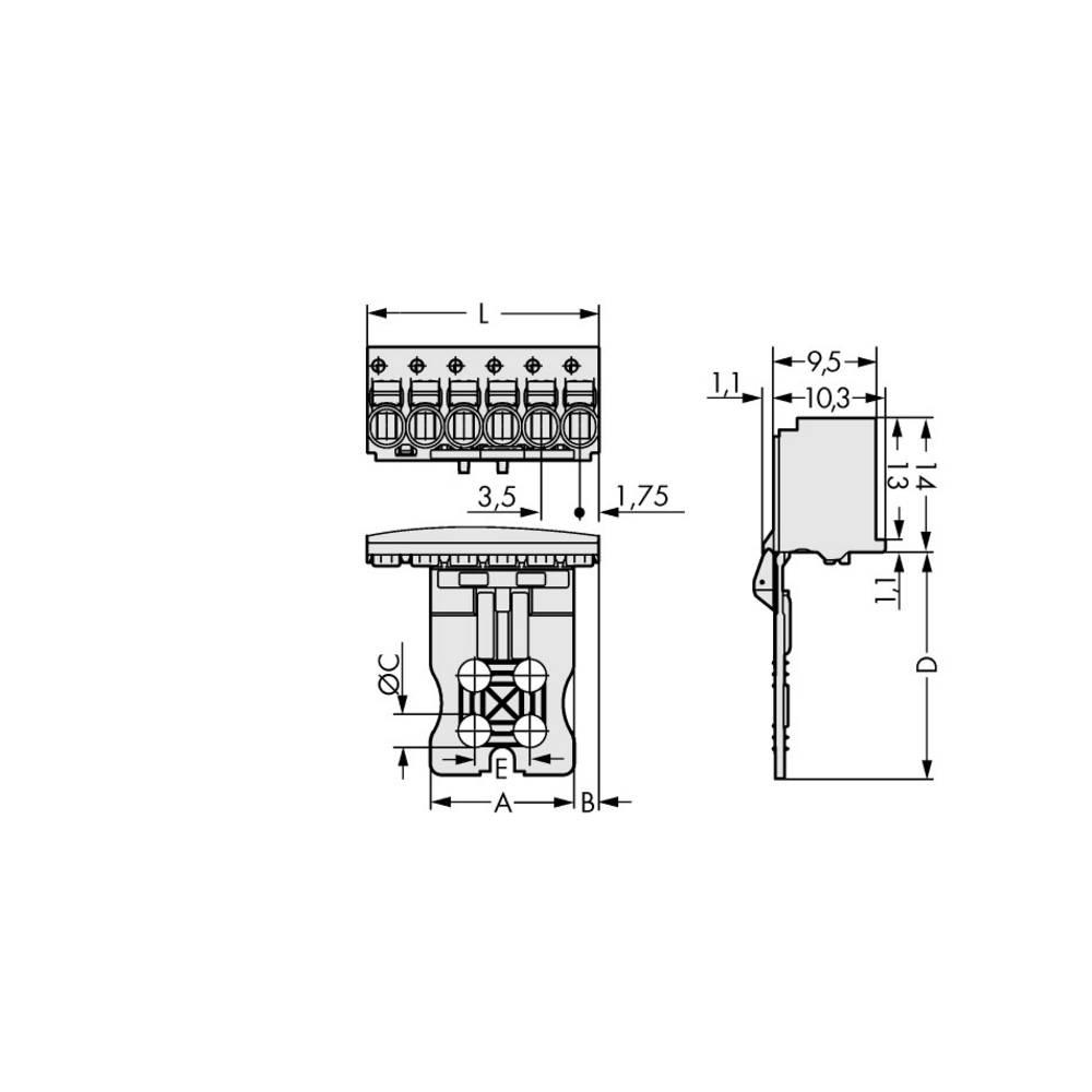 Stiftkabinet-printplade 2091 (value.1360705) Samlet antal poler 6 WAGO 2091-1106/002-000 Rastermål: 3.50 mm 50 stk