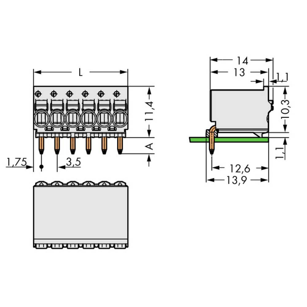 Stiftkabinet-printplade 2091 (value.1360705) Samlet antal poler 3 WAGO 2091-1353 Rastermål: 3.50 mm 100 stk