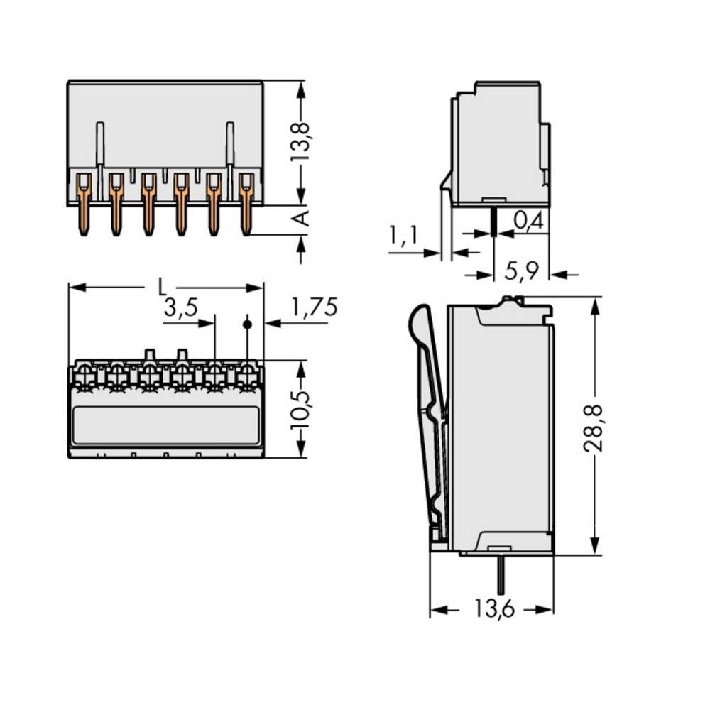 Stiftkabinet-printplade 2091 (value.1360705) Samlet antal poler 4 WAGO 2091-1304 Rastermål: 3.50 mm 200 stk