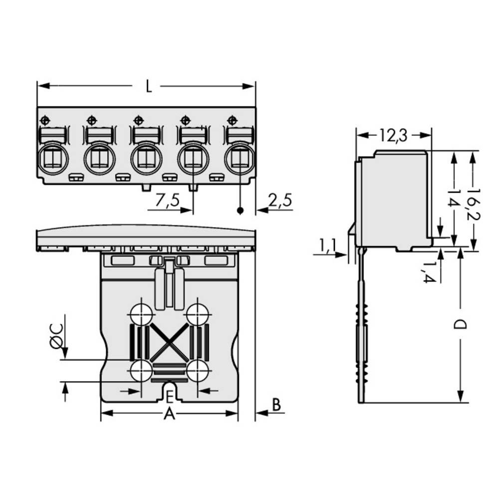 Stiftkabinet-printplade 2092 (value.1360466) Samlet antal poler 4 WAGO 2092-3104 Rastermål: 7.50 mm 100 stk