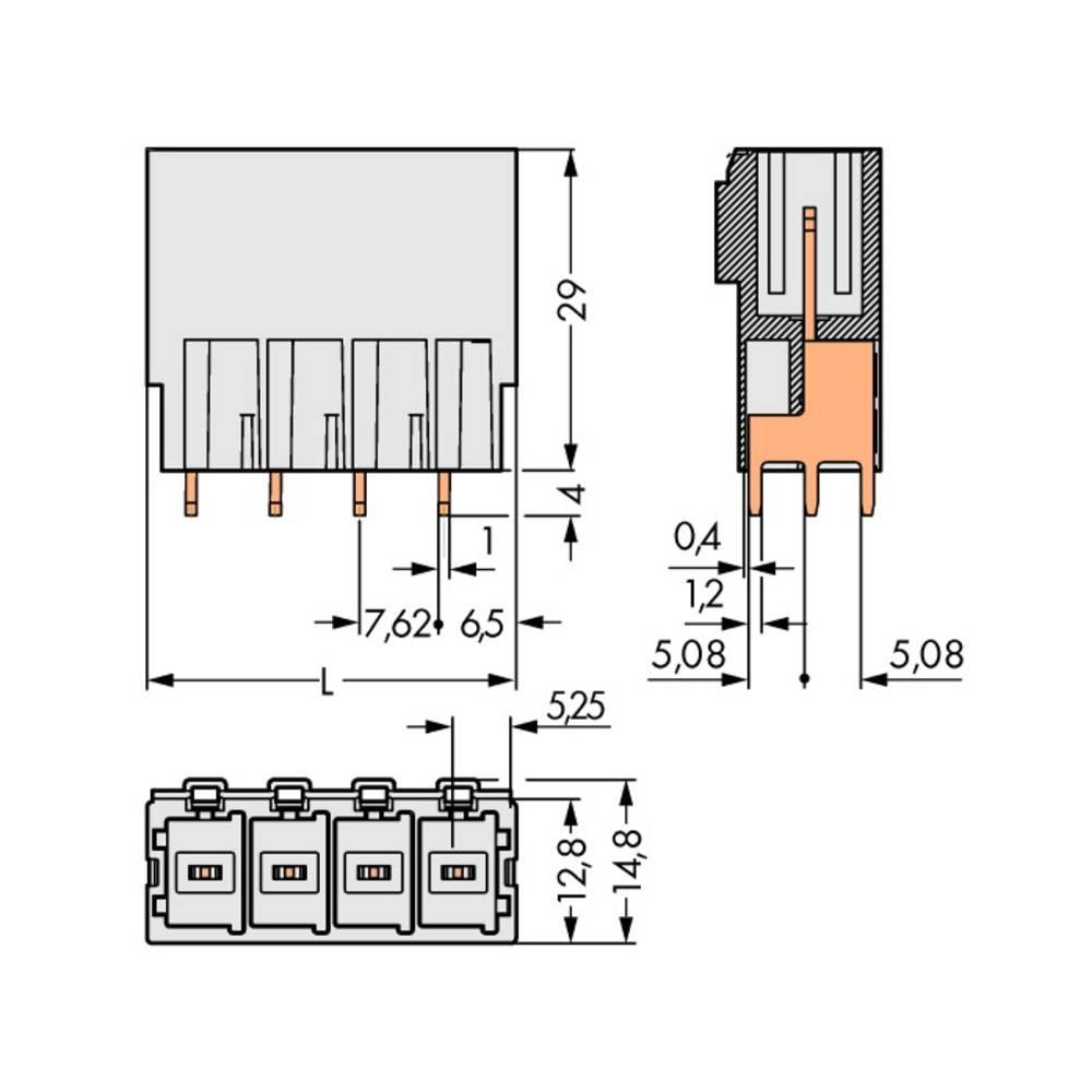 Stiftkabinet-printplade 831 (value.1361063) Samlet antal poler 8 WAGO 831-3608 Rastermål: 7.62 mm 12 stk