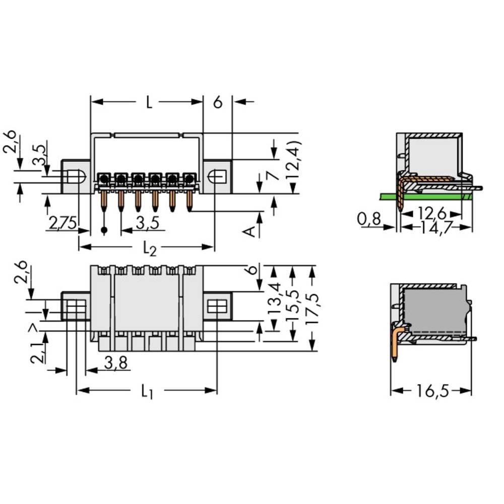 Stiftkabinet-printplade 2091 (value.1360705) Samlet antal poler 5 WAGO 2091-1425/005-000 Rastermål: 3.50 mm 200 stk