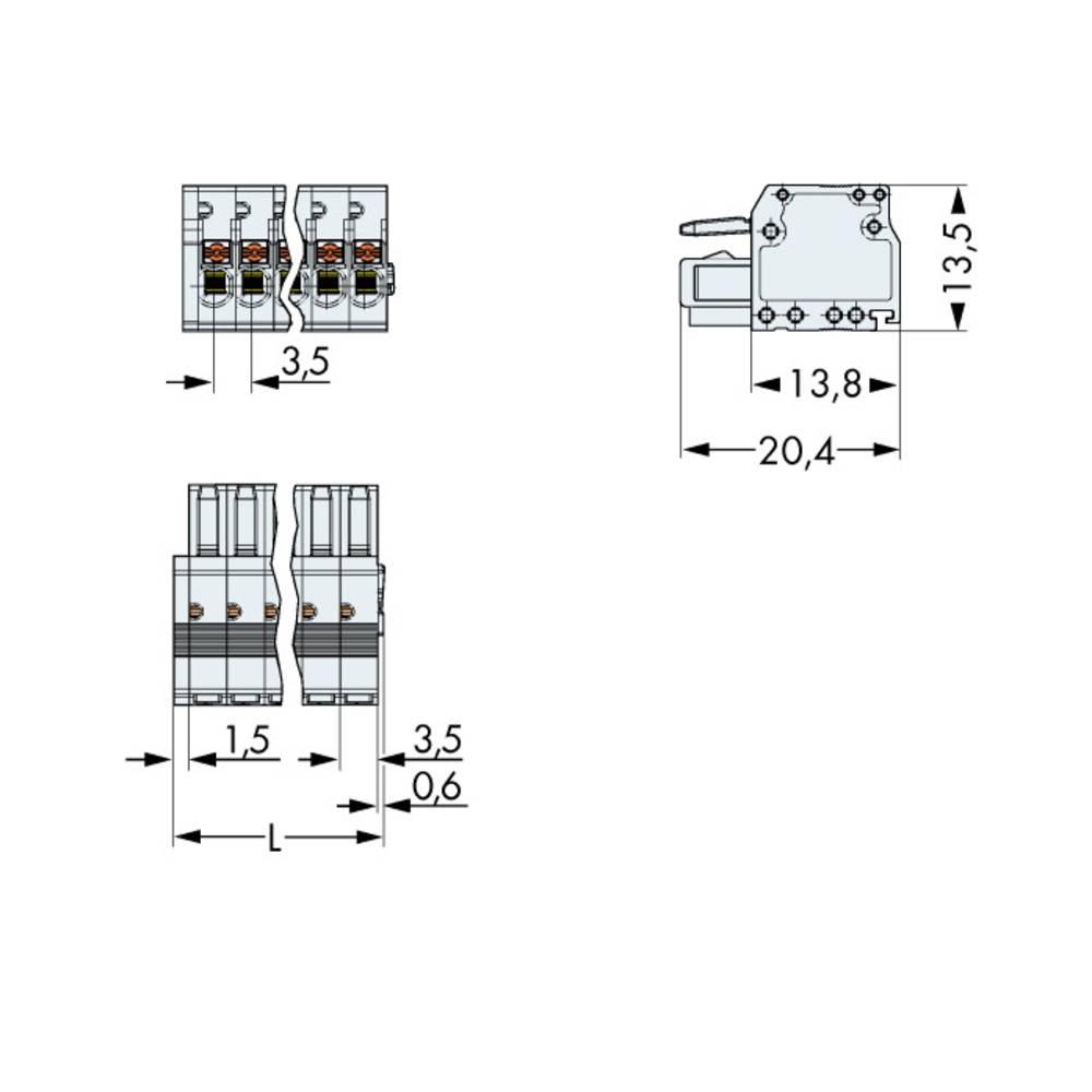 Tilslutningskabinet-kabel 2734 (value.1360635) Samlet antal poler 13 WAGO 2734-113 Rastermål: 3.50 mm 50 stk