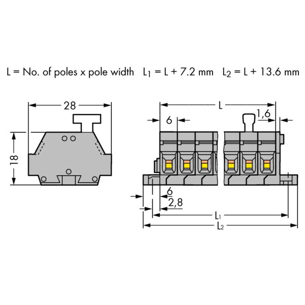 Klemmerække 6 mm Trækfjeder Belægning: L Grå WAGO 261-425/331-000 50 stk