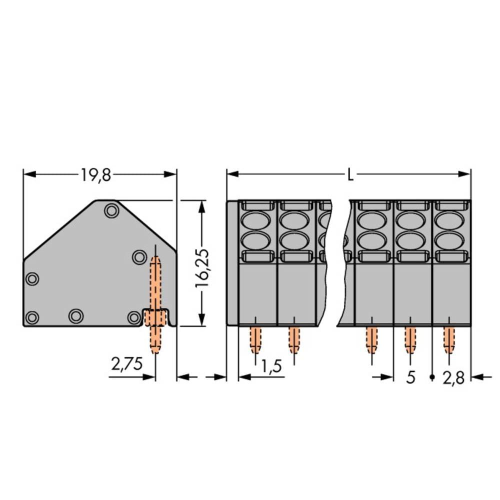 Fjederkraftsklemmeblok WAGO 1.50 mm² Poltal 11 Grå 80 stk