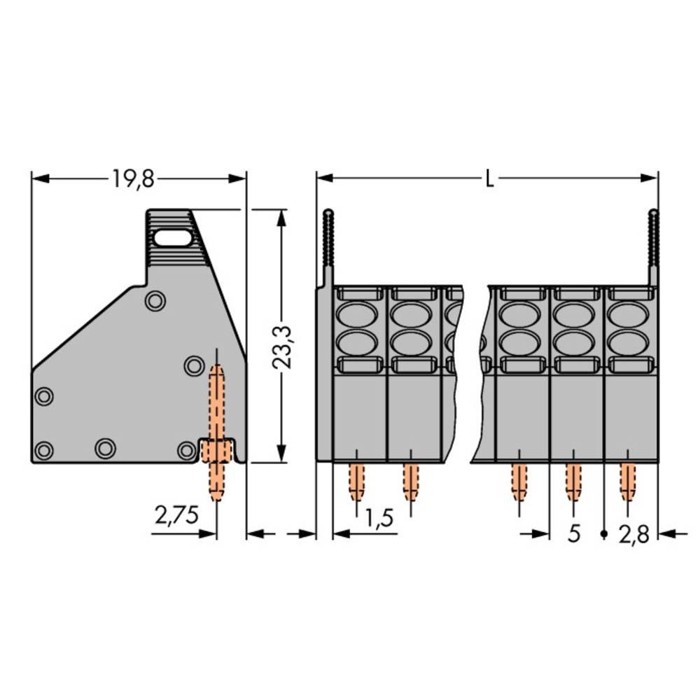 Fjederkraftsklemmeblok WAGO 1.50 mm² Poltal 6 Grå 150 stk