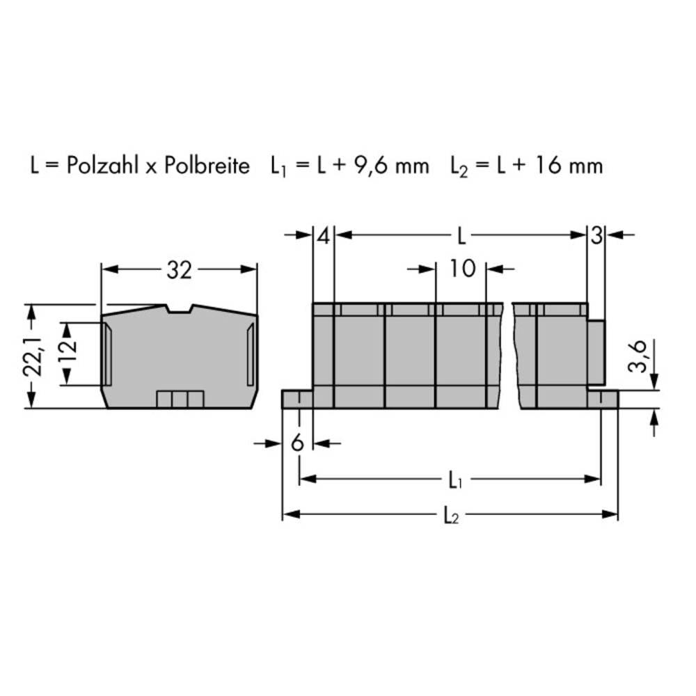 Klemmerække 10 mm Trækfjeder Belægning: L Grå WAGO 264-206 50 stk