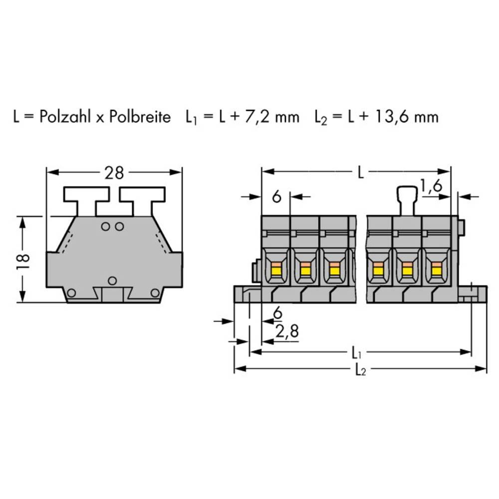 Klemmerække 6 mm Trækfjeder Belægning: L Grå WAGO 261-424/341-000 50 stk