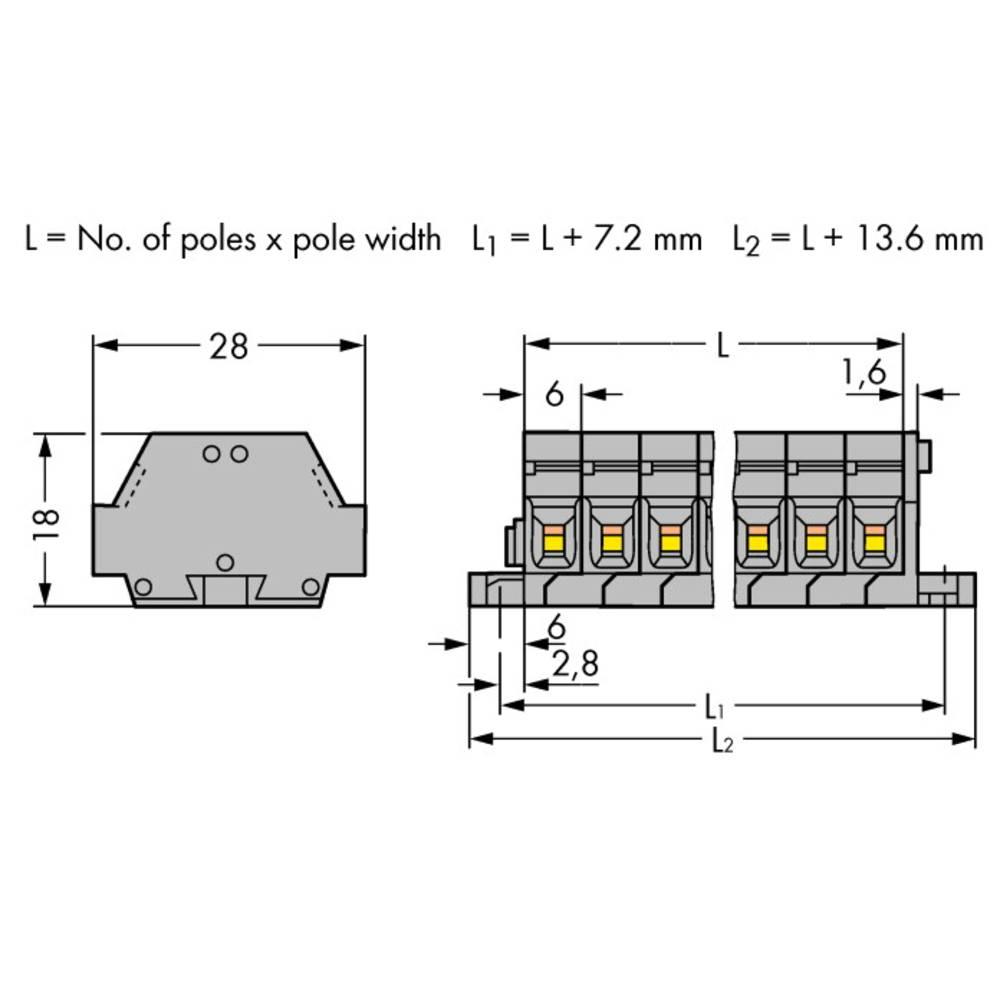 Klemmerække 6 mm Trækfjeder Belægning: L Grå WAGO 261-425 50 stk