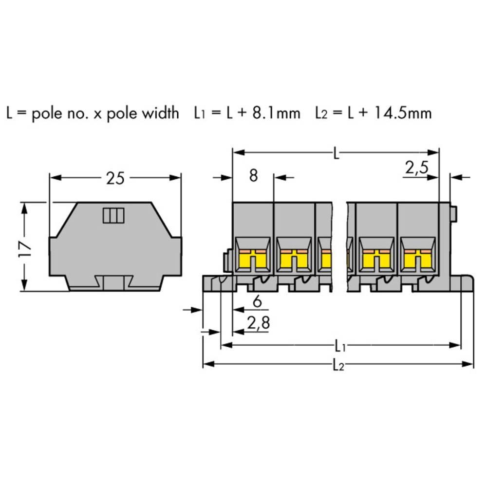 Klemmerække 8 mm Trækfjeder Belægning: L Grå WAGO 260-205 50 stk
