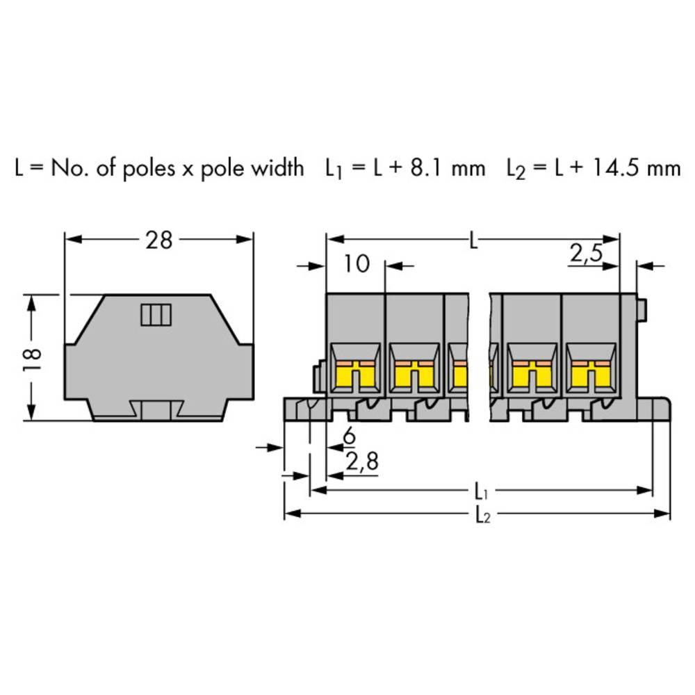 Klemmerække 10 mm Trækfjeder Belægning: L Grå WAGO 261-209 25 stk