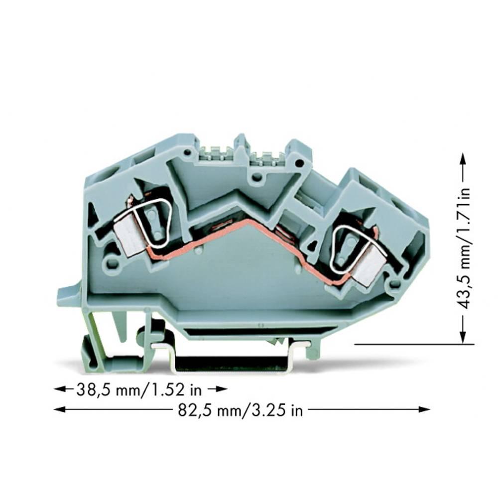 Gennemgangsklemme 8 mm Trækfjeder Belægning: L Grå WAGO 782-601 25 stk