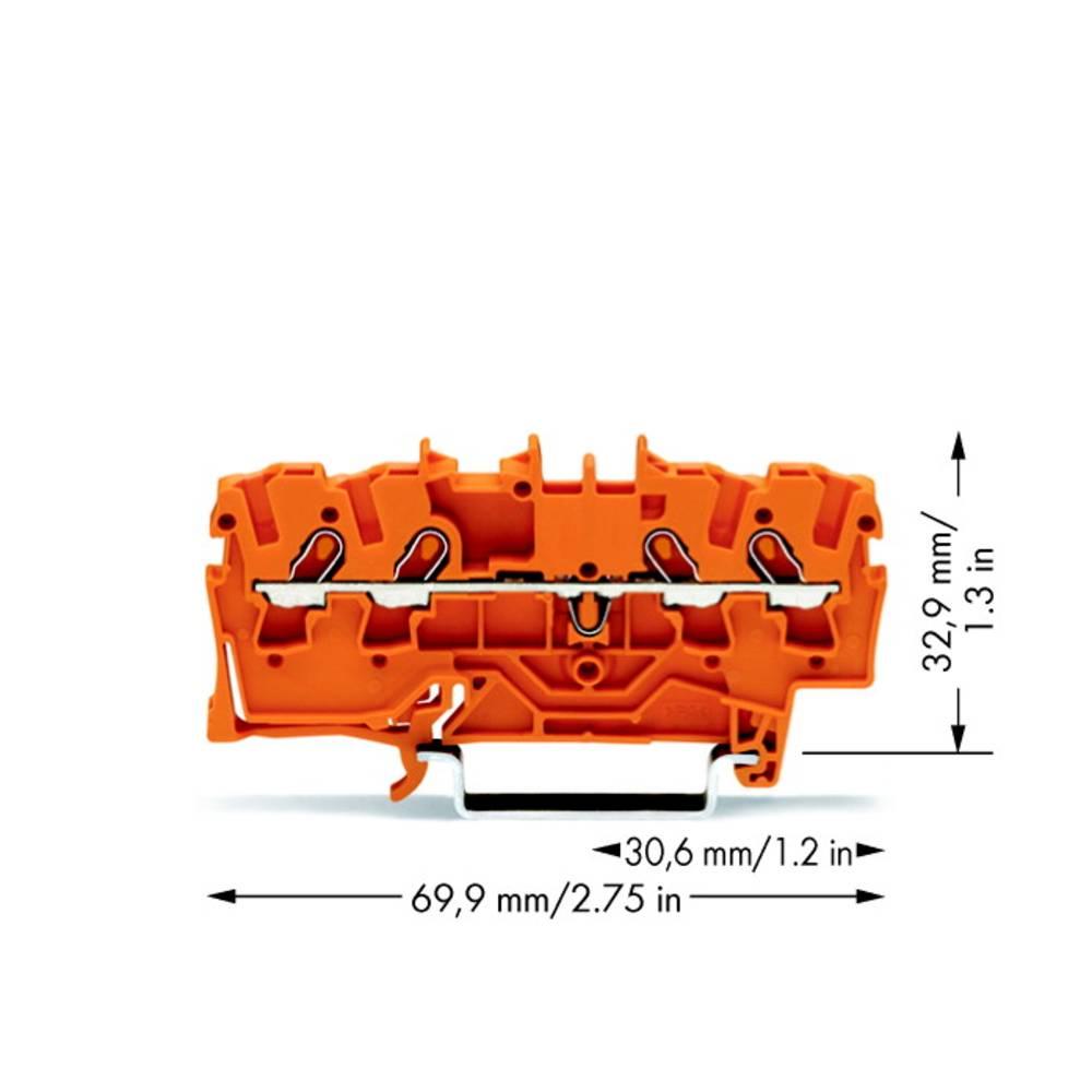 Gennemgangsklemme 4.20 mm Trækfjeder Orange WAGO 2001-1402 100 stk