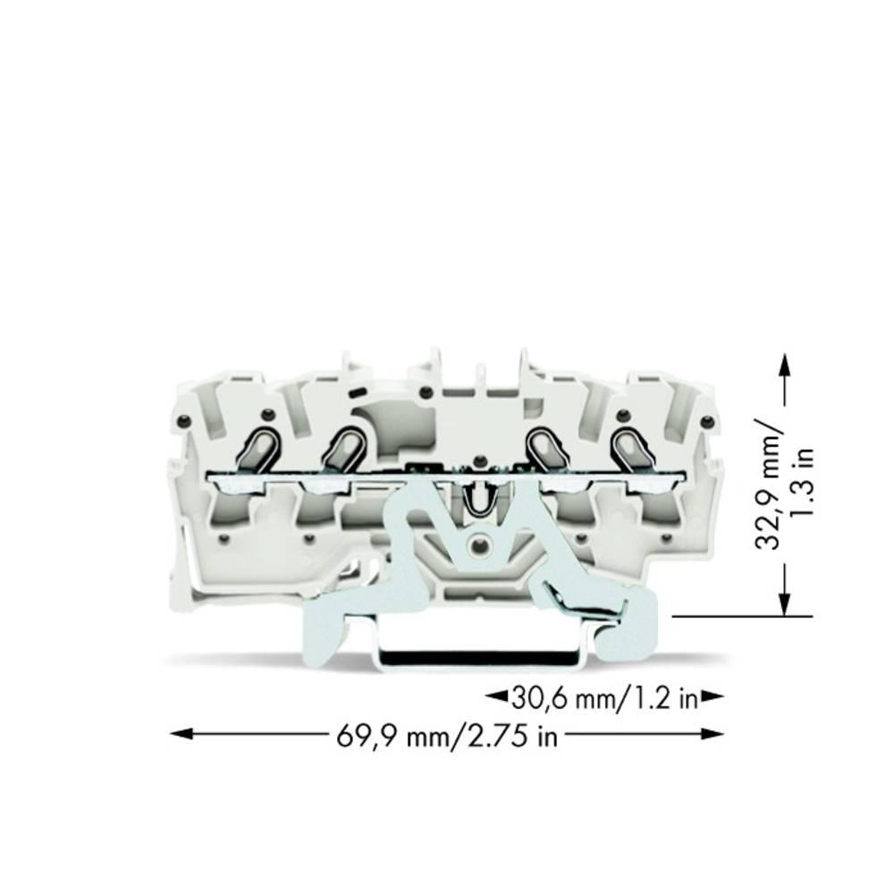 Skærmklemme 4.20 mm Trækfjeder Hvid WAGO 2001-1408 100 stk